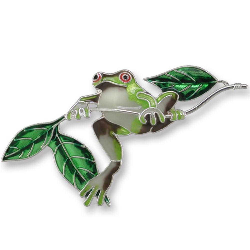 Frog Enameled Silver Plated Pin | Zarah Jewelry | 21-22-Z2