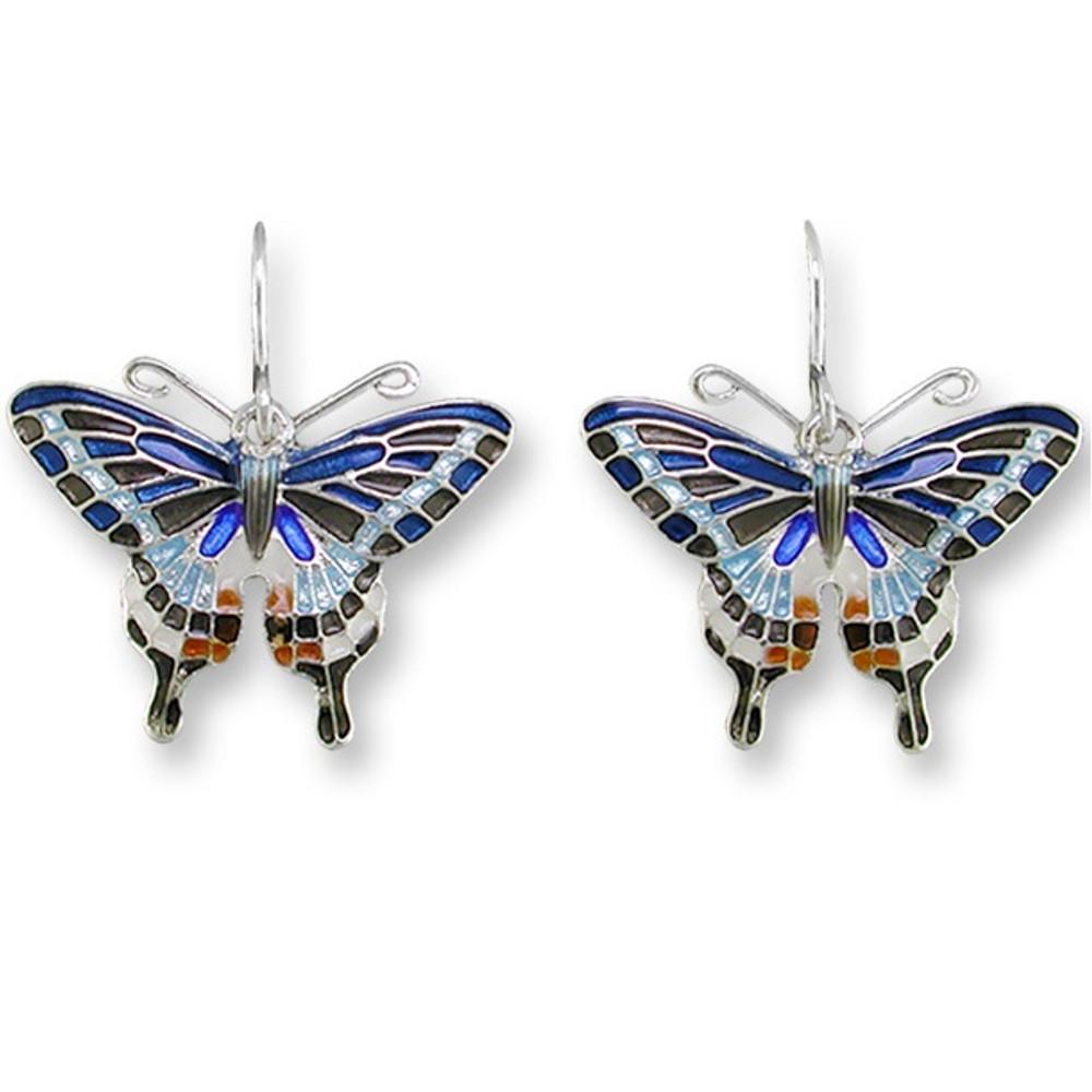 Tiger Swallowtail Butterfly Enameled Wire Earrings | Zarah Jewelry | 21-26-Z1