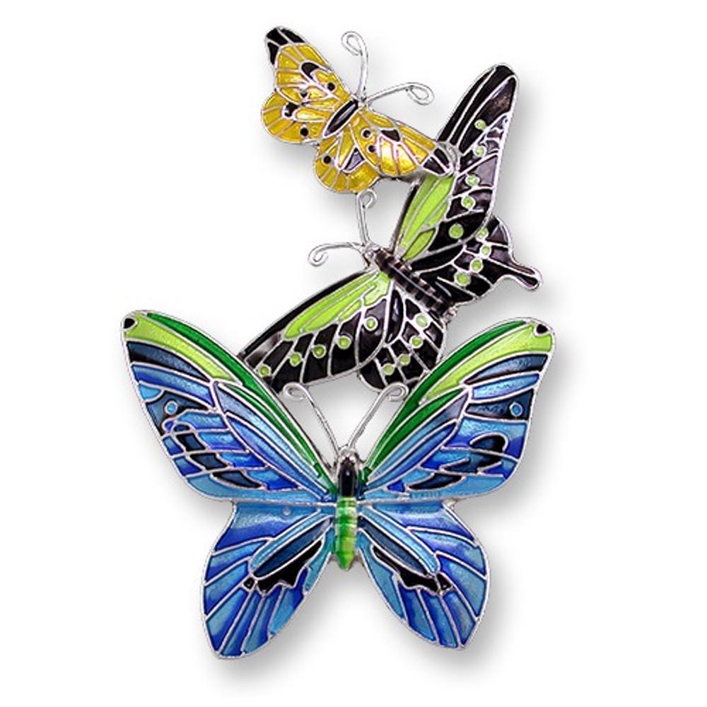 Butterflies Enameled Silver Plated Pin | Zarah Jewelry | 21-28-Z2