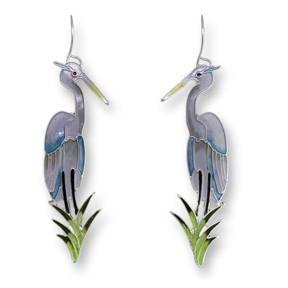 Great Blue Heron Enameled Silver Plated Wire Earrings | Zarah Jewelry | 21-38-Z1