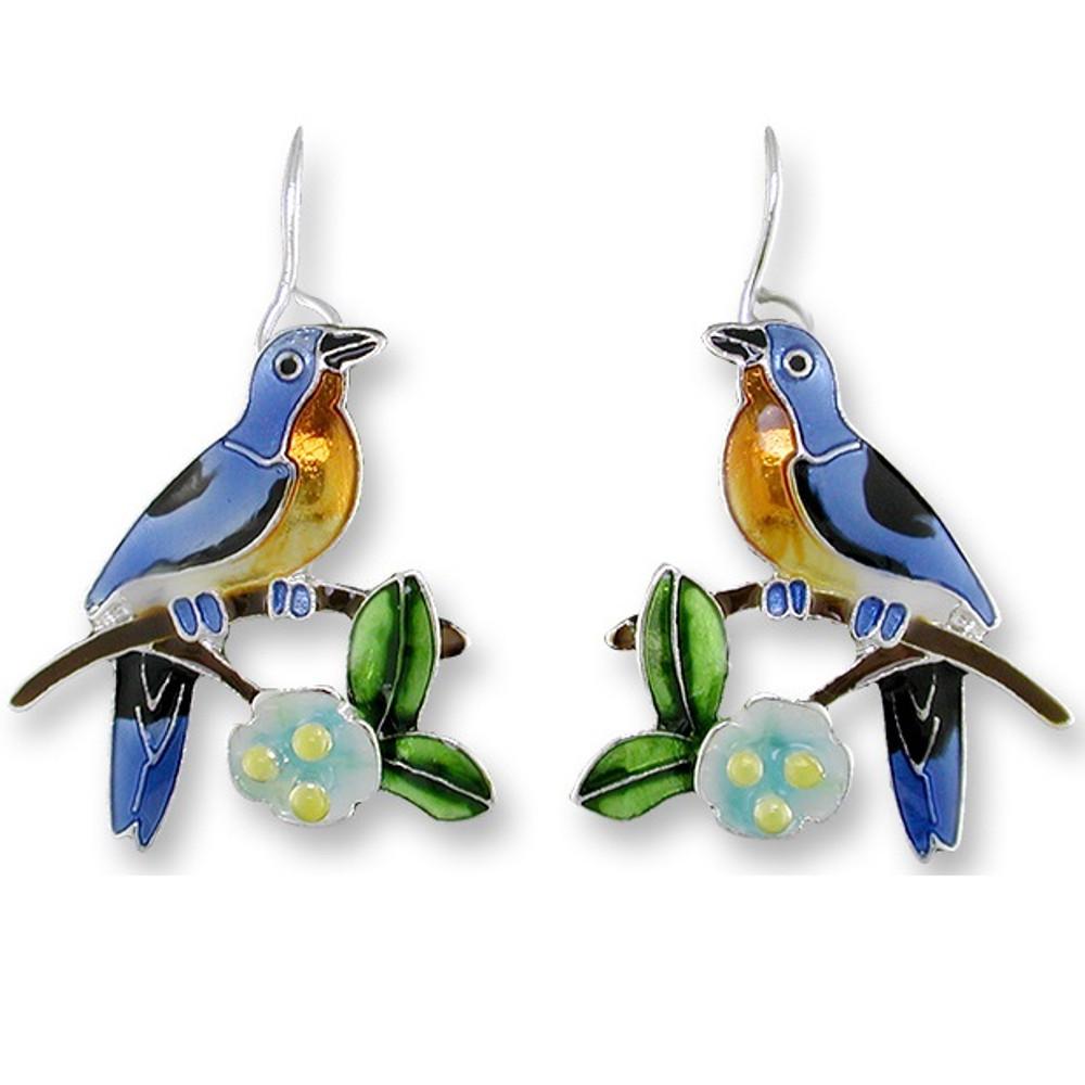 Bluebird and Dogwood Enameled Wire Earrings   Zarah Jewelry   21-39-Z1