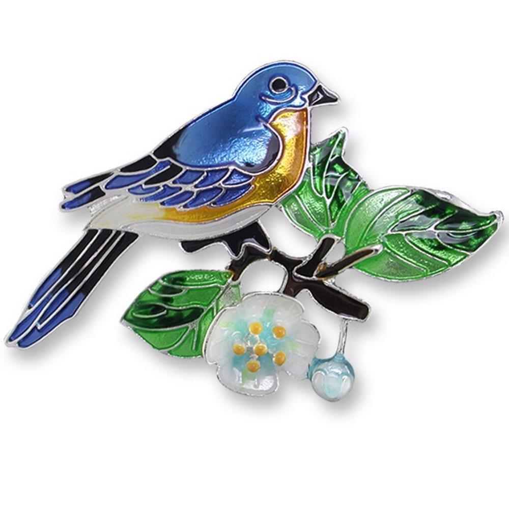 Bluebird and Dogwood Enameled Silver Plated Pin | Zarah Jewelry | 21-39-Z2