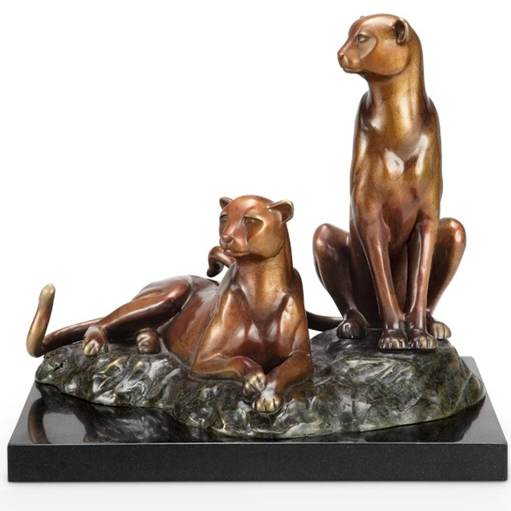 "Cheetah Brass and Marble Sculpture ""Alert"" | 80338 | SPI Home"