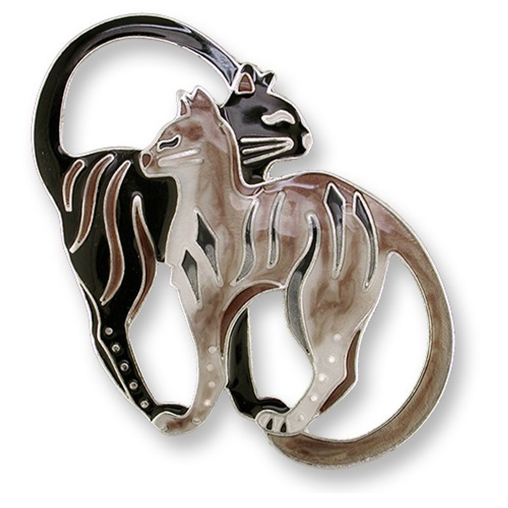 Cat Pair Enameled Silver Plated Pin | Zarah Jewelry | 27-02-Z2