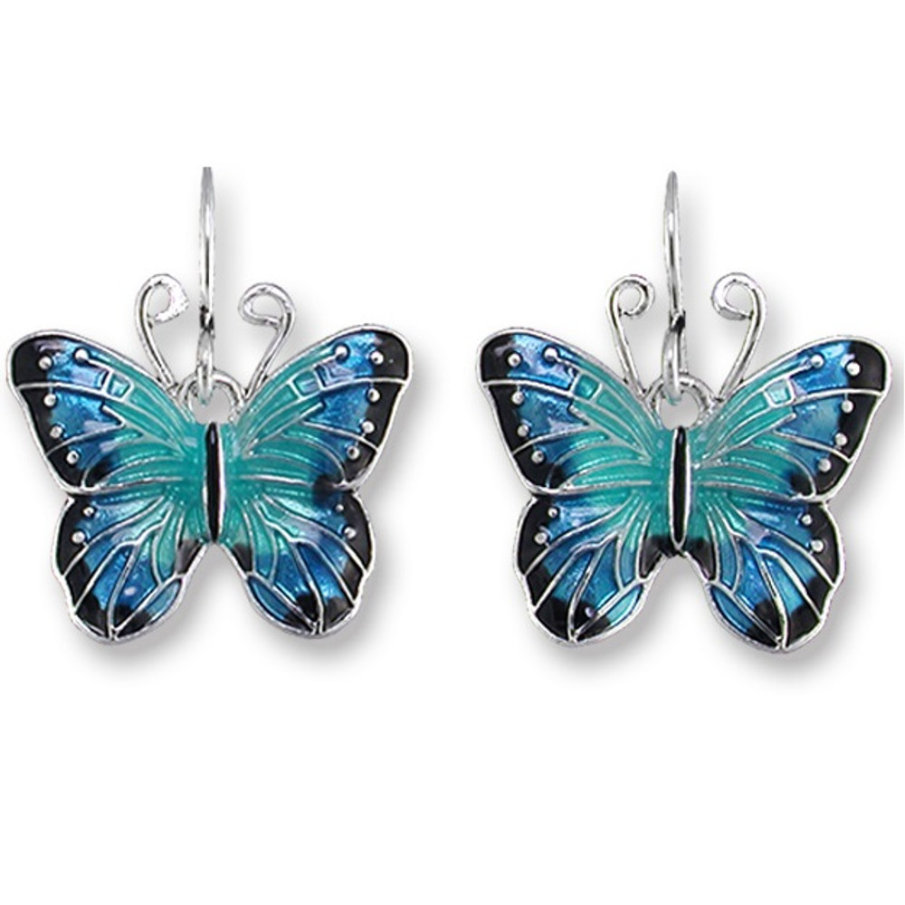 Blue Morpho Butterfly Enameled Wire Earrings | Zarah Jewelry | 29-05-Z1