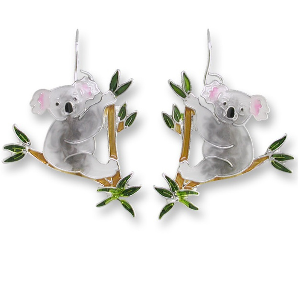 Koala Bear Enameled Wire Earrings | Zarah Jewelry | 29-11-Z1