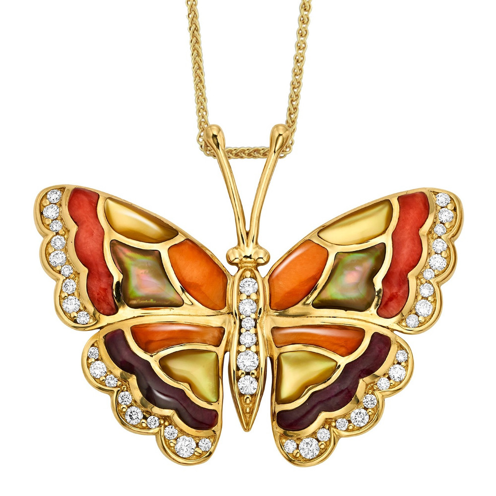 Butterfly 14K Gold Inlay Pendant Necklace   Kabana Jewelry   GPCF697MMS-CH