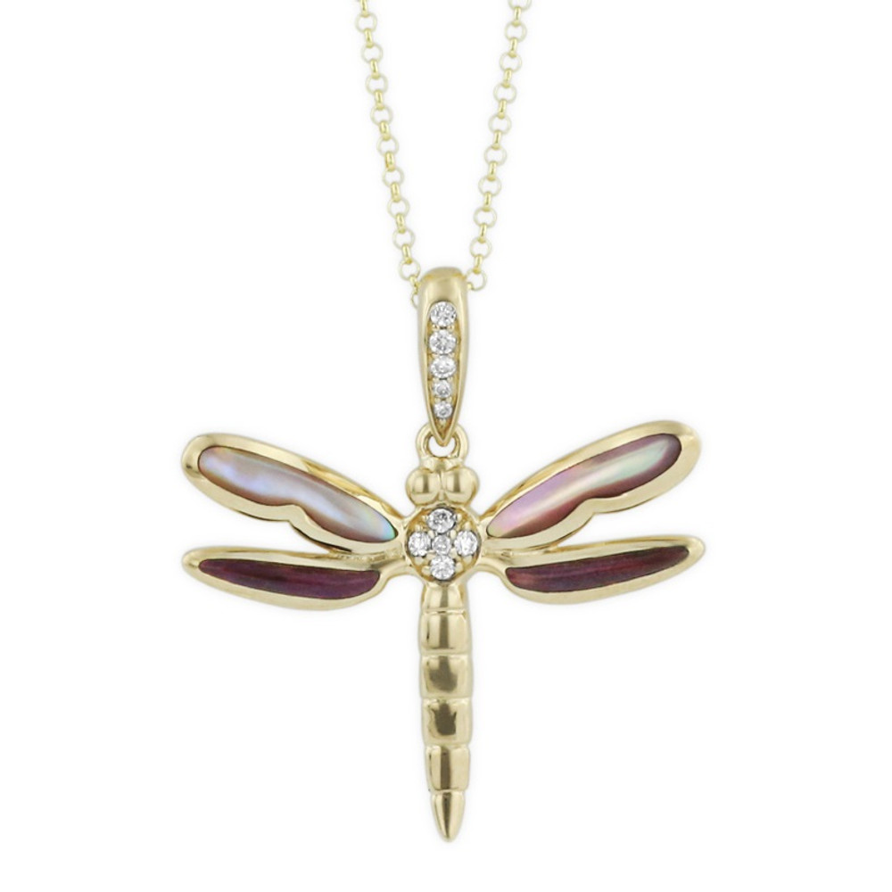 Dragonfly 14K Gold Inlay Pendant Necklace | Kabana Jewelry | GPIF006MPSP-CH