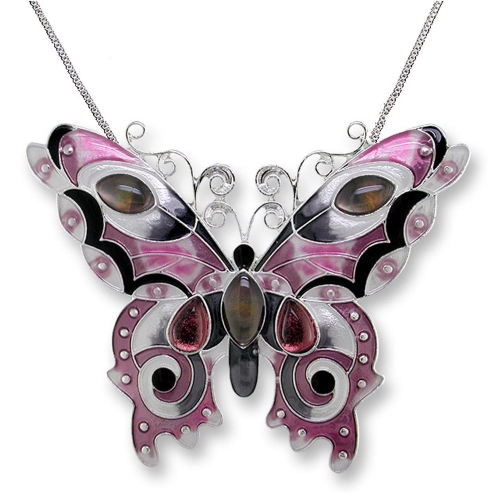 Butterfly Enamel Silver Plated Pendant Necklace    Garnet   Zarah Jewelry   07-15-Z2P