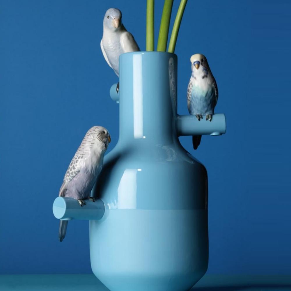 Parrot Parade Porcelain Vase Blue   Lladro   LLA01007850