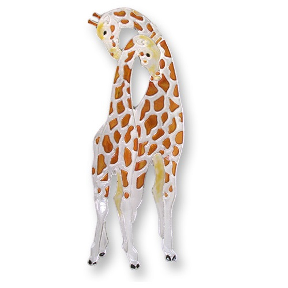 Giraffe Enameled Silver Plated Pin   Zarah Jewelry   29-20-Z2