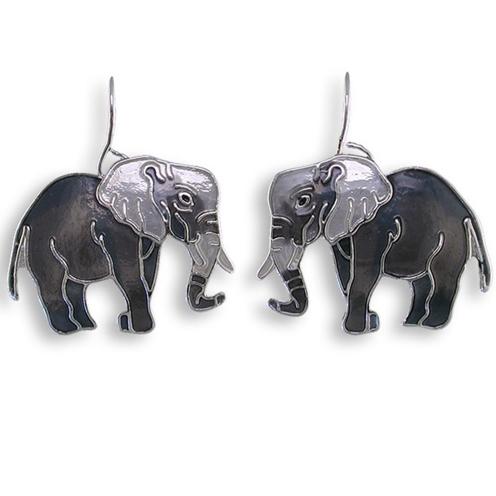 Gray Elephant Enameled Wire Earrings | Zarah Jewelry | 29-21-Z1