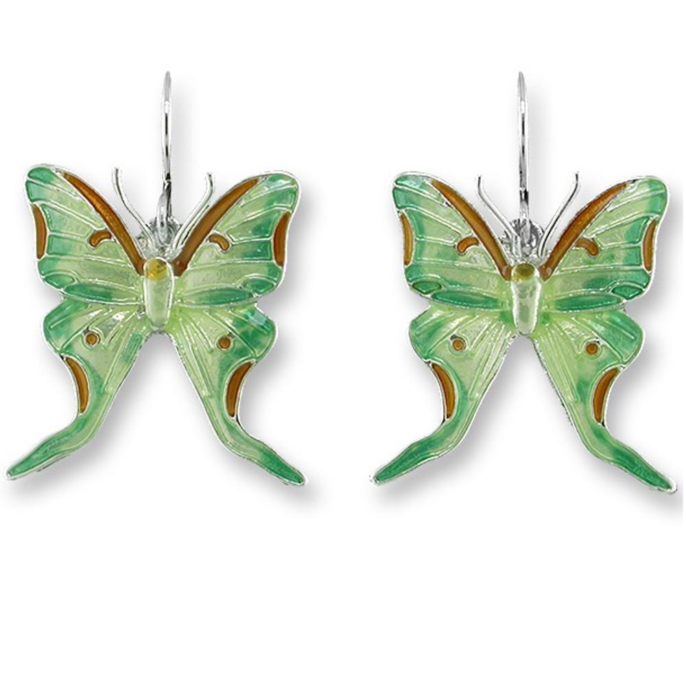 Luna Moth Enameled Wire Earrings | Zarah Jewelry | 29-24-Z1