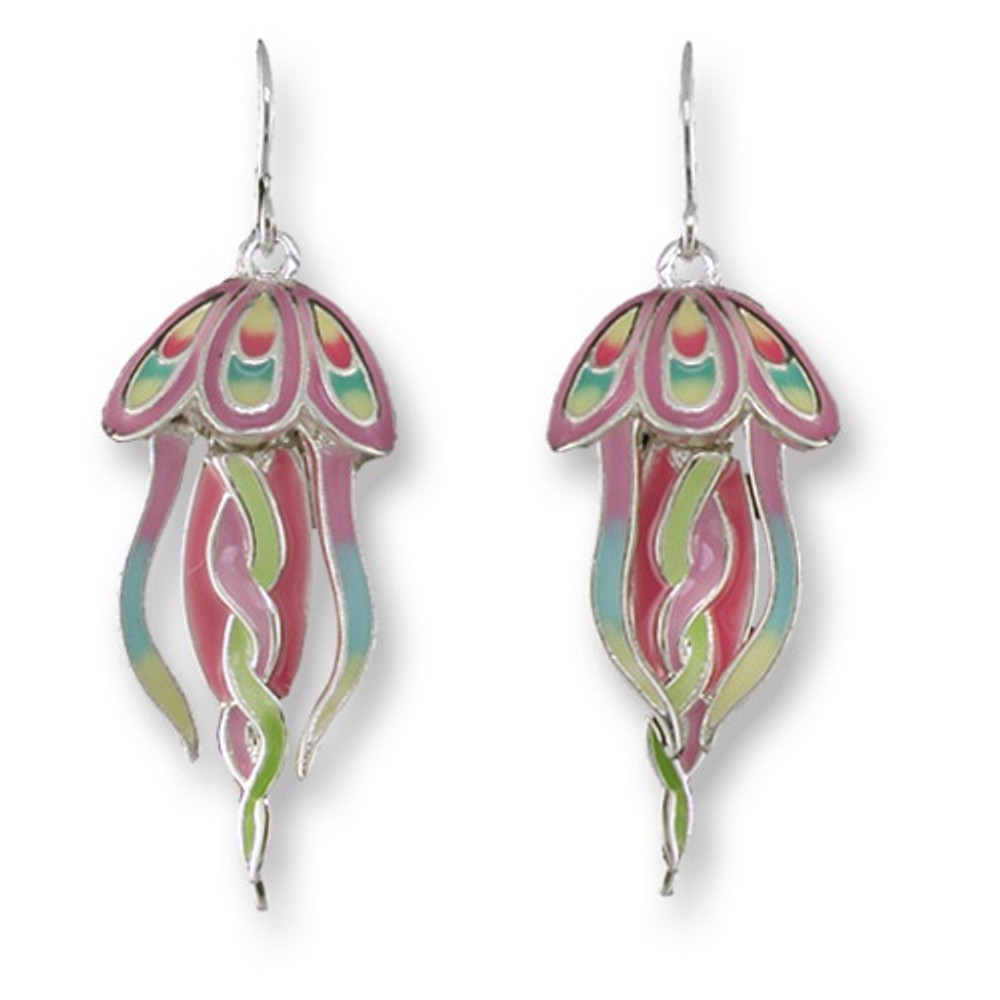 Jellyfish Dangle Enameled Wire Earrings | Zarah Jewelry | 32-08-Z1