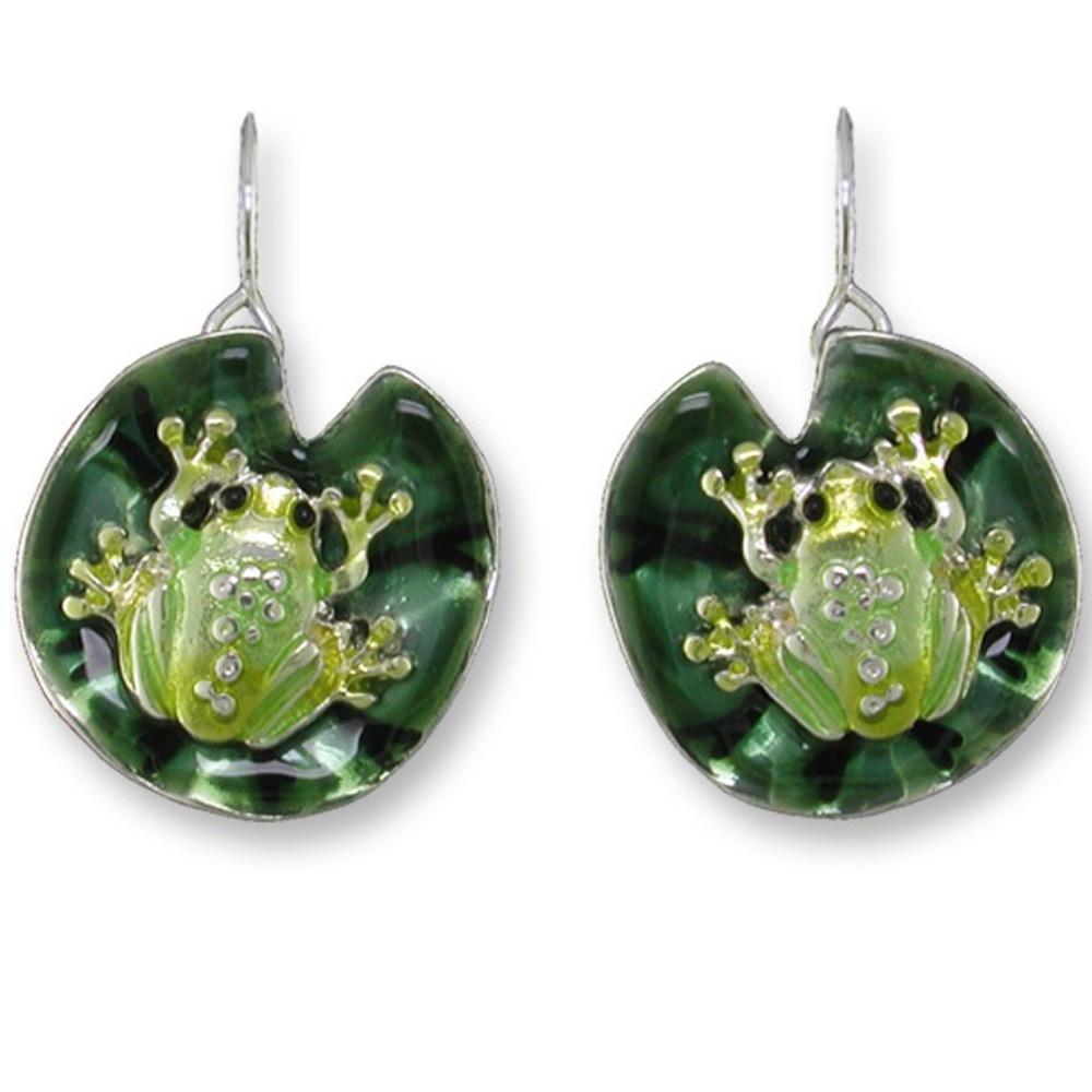 Frog On Lily Pad Enameled Wire Earrings | Zarah Jewelry | 32-09-Z1