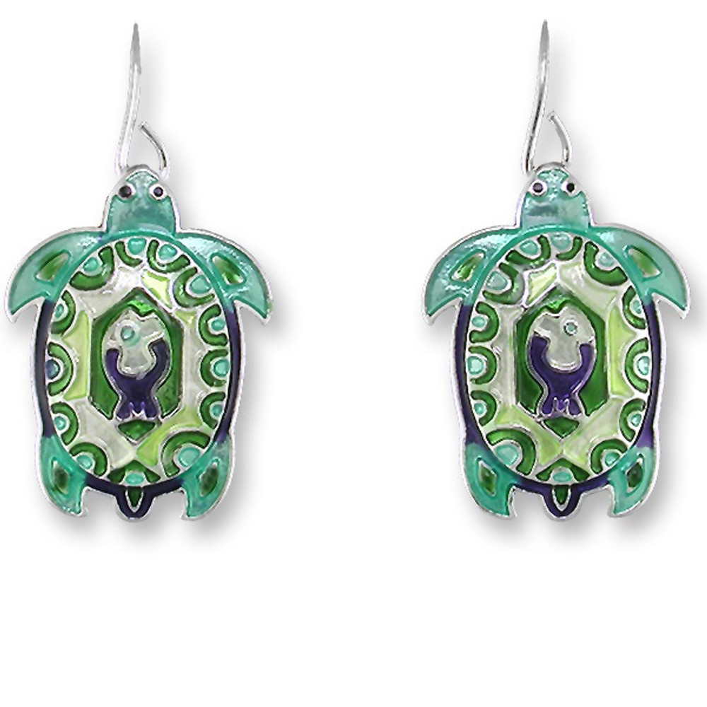 Turtle Montage Enameled Wire Earrings   Zarah Jewelry   32-14-Z1