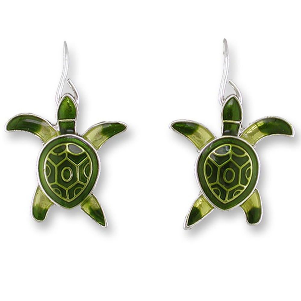 Sea Turtle Hatchling Enameled Wire Earrings | Zarah Jewelry | 13-01-Z1