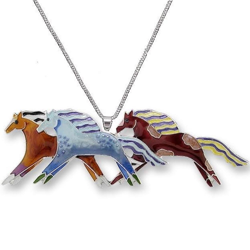 Mustangs Enameled Silver Plated Necklace   Zarah Jewelry   11-01-Z2P