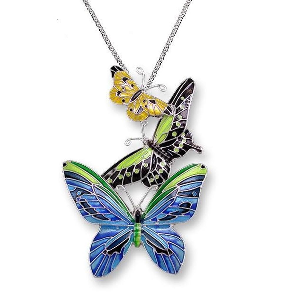 Butterflies Enameled Silver Plated Necklace   Zarah Jewelry   21-28-Z2P