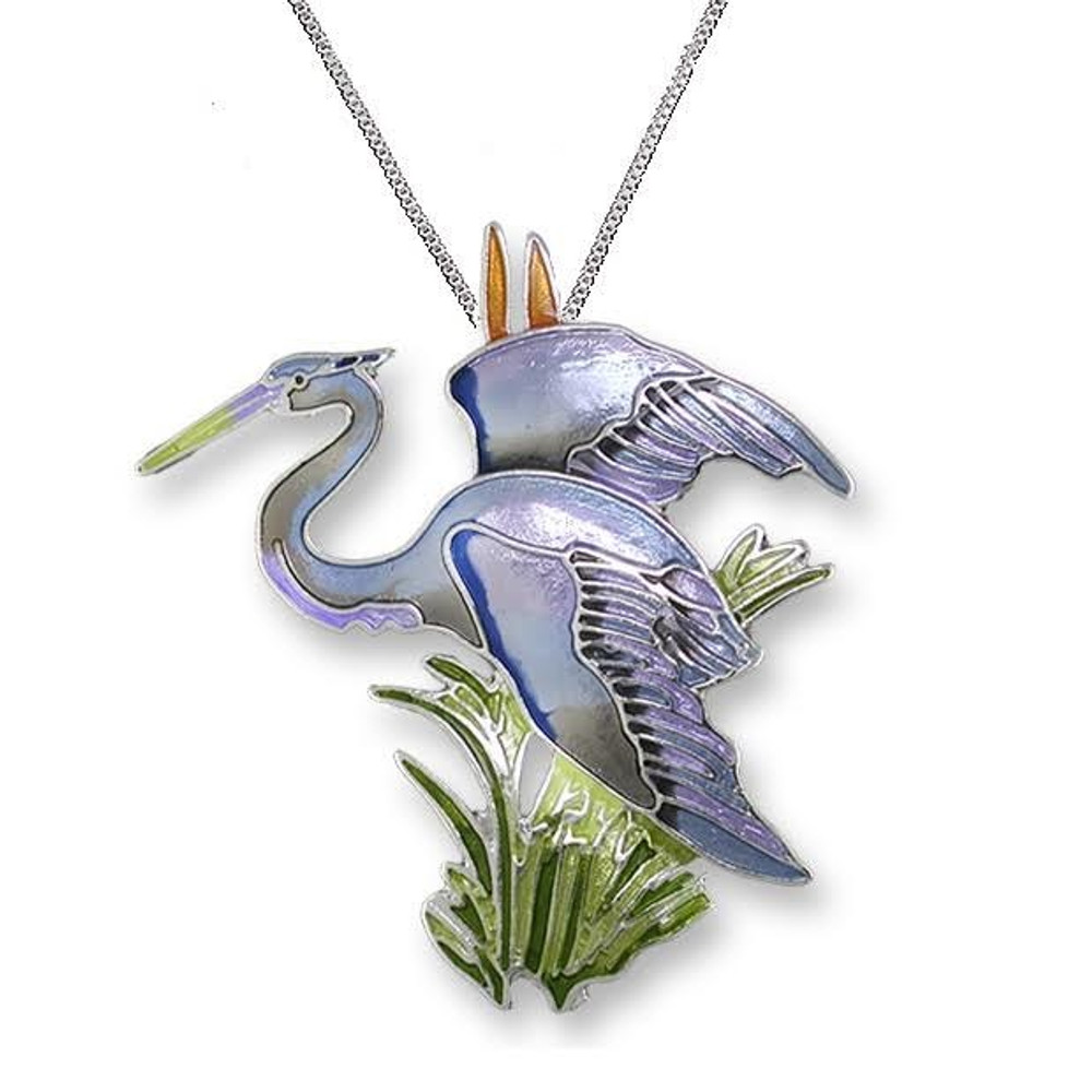 Great Blue Heron Enameled Silver Plated Necklace | Zarah Jewelry | 21-38-Z2P