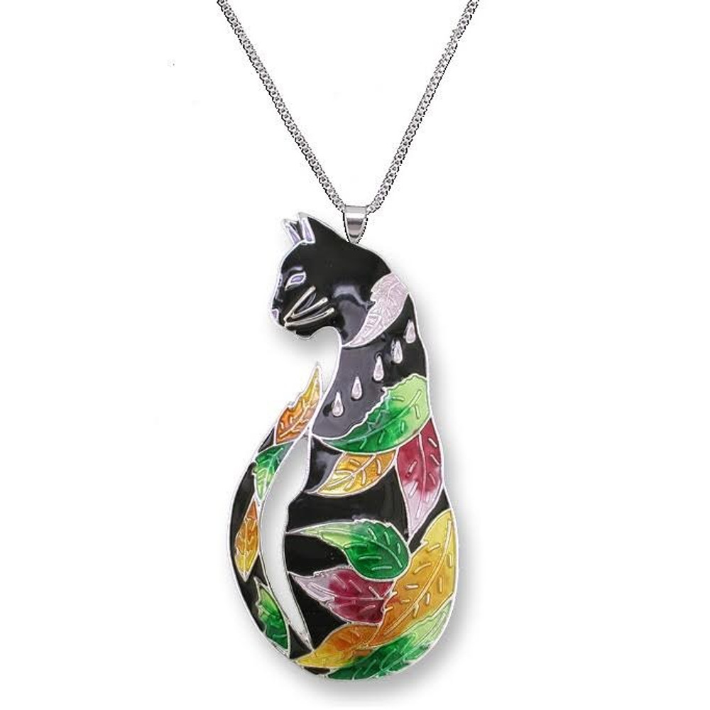 Cat Enameled Silver Plated Necklace | Zarah Jewelry | 27-01-Z2P