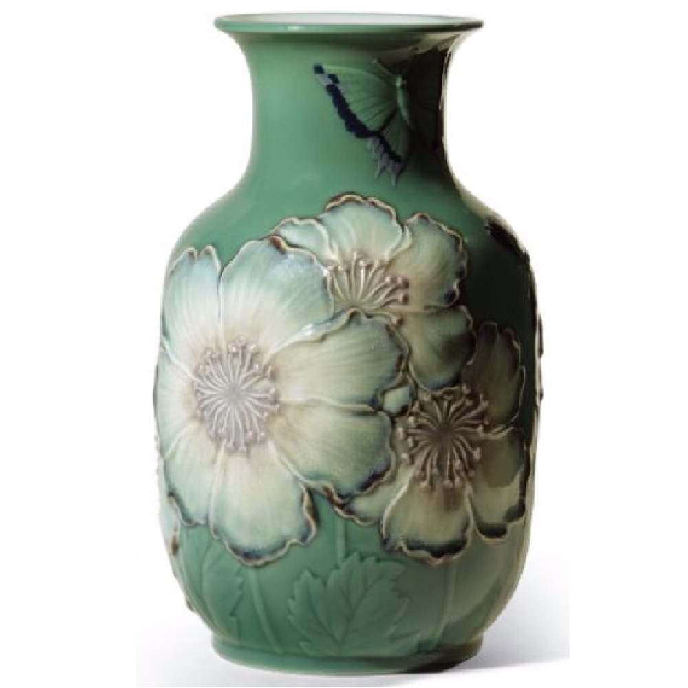 Butterfly and Poppy Flowers Tall Porcelain Vase | Lladro | 01008648
