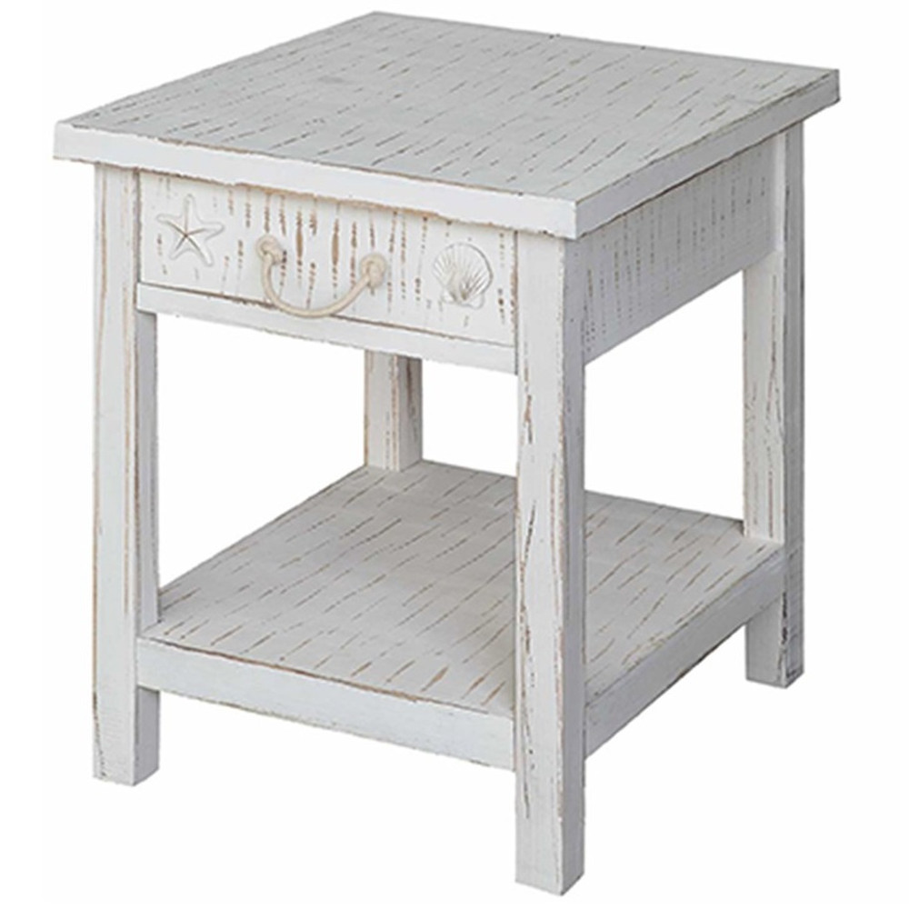 Shell and Starfish Seaside Sand End Table   Crestview Collection   CVFZR1521
