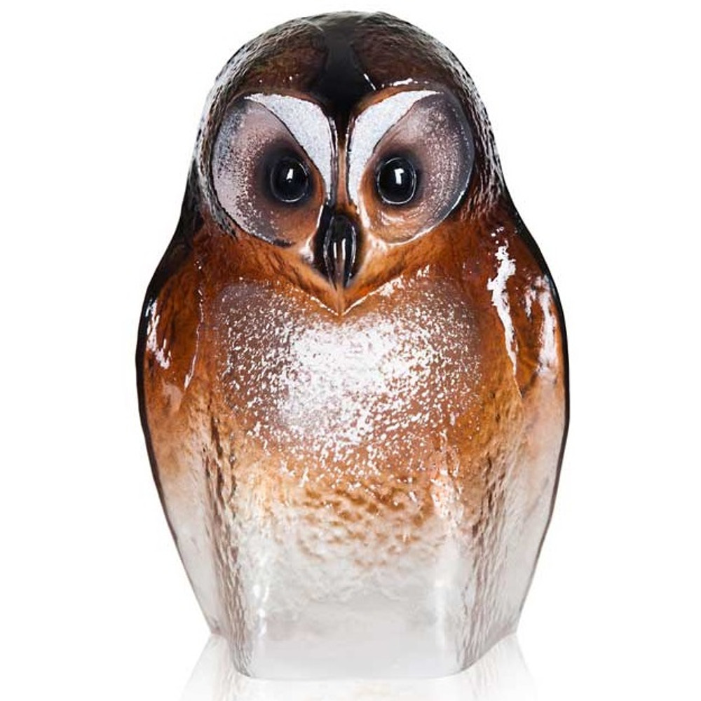 Owl Brown Crystal Sculpture | 34245 | Mats Jonasson Maleras -2