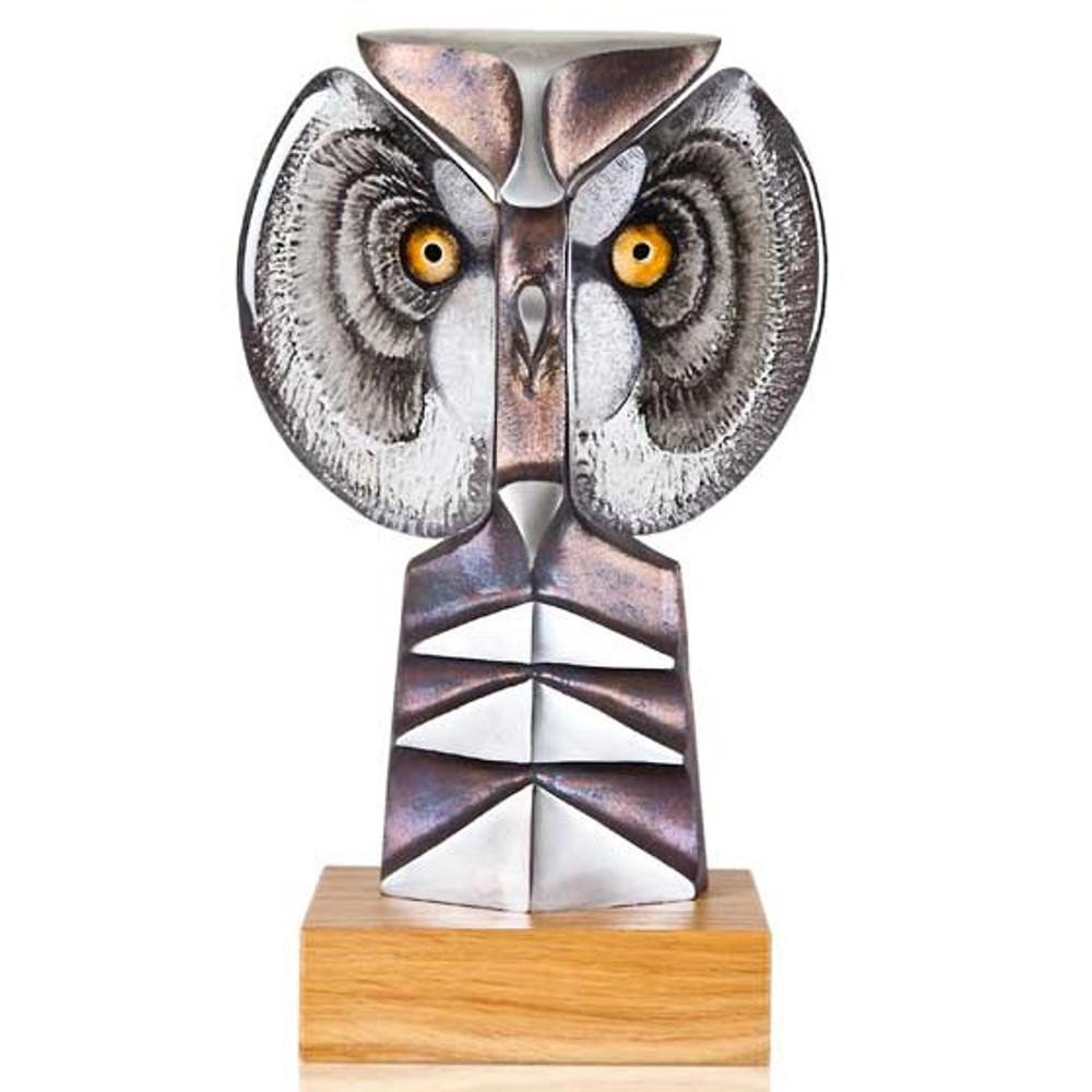 Owl Iron and Crystal Sculpture   Strix II   68146   Mats Jonasson Maleras