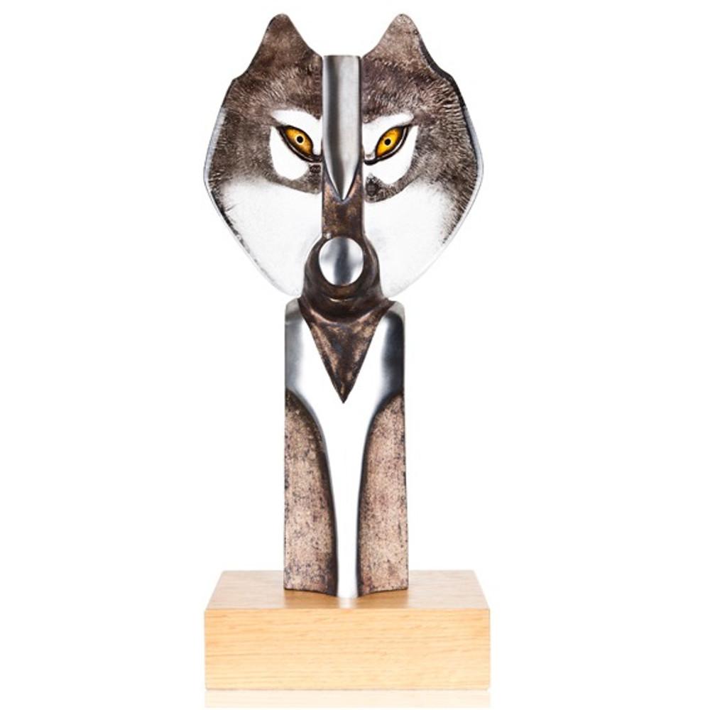 Wolf Iron and Crystal Sculpture | 68123 | Mats Jonasson Maleras