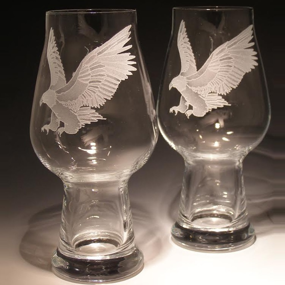 Eagle Craft Beer Glass Set of 2 | NA-EAGLE | Evergreen Crystal