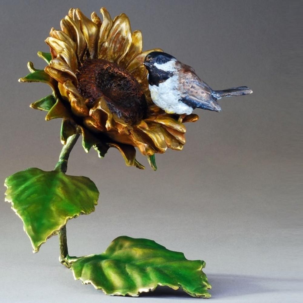 "Chickadee and Sunflower Bronze Sculpture ""Sunshine"" 72037 | Mark Hopkins | 72037"