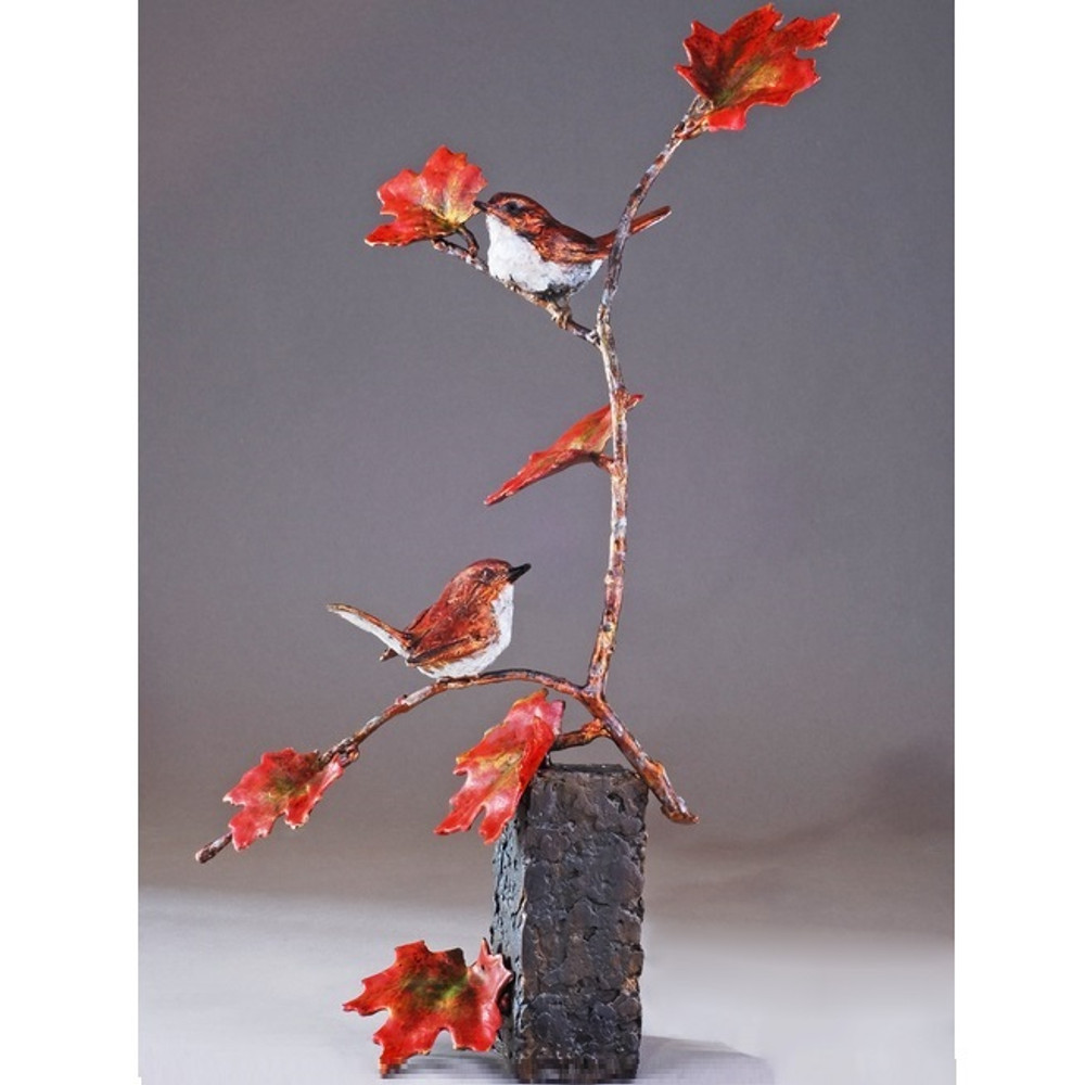 """Bird Pair and Branch Bronze Sculpture """"Tree for Two"""" 72045 