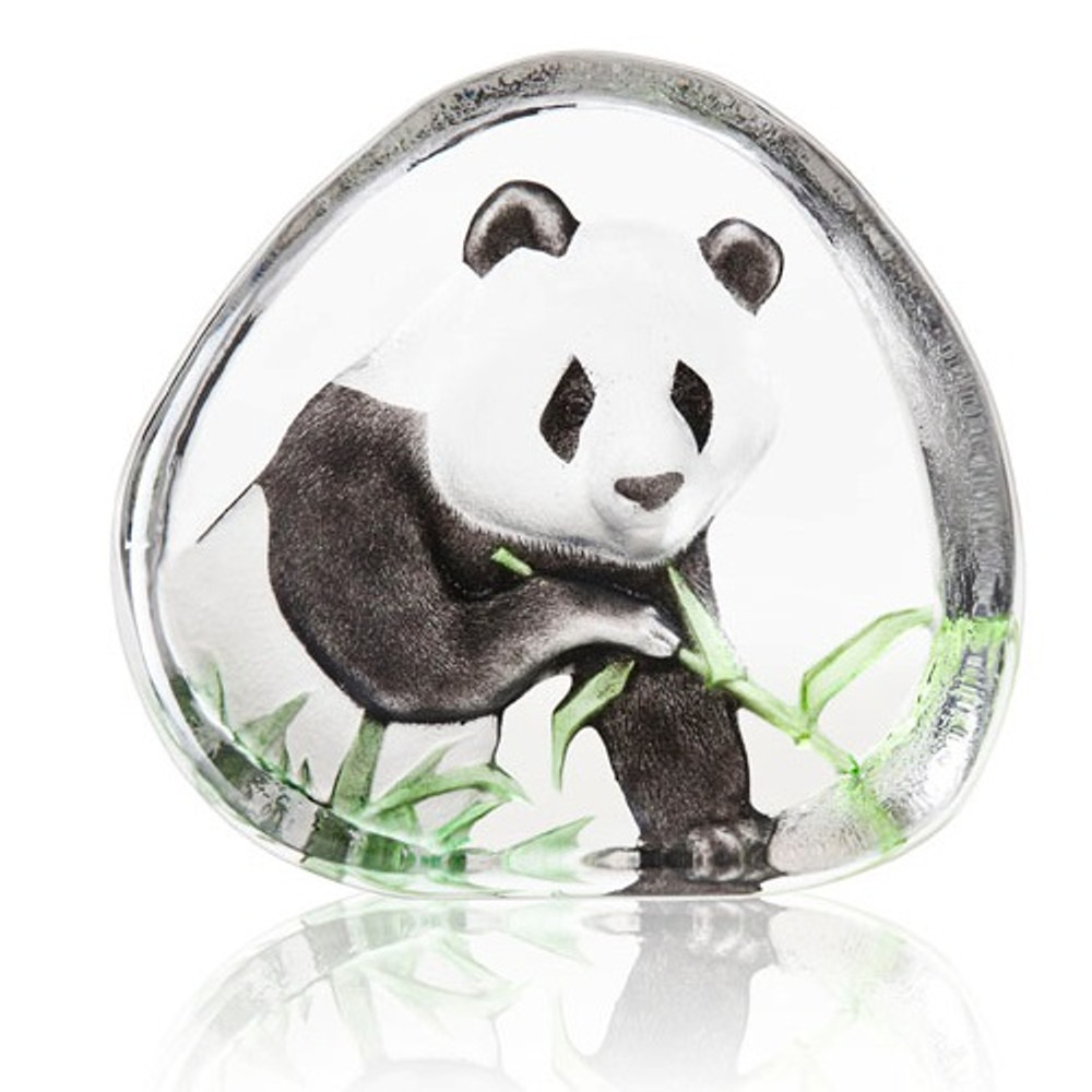 Panda Eating Crystal Sculpture   33937   Mats Jonasson Maleras