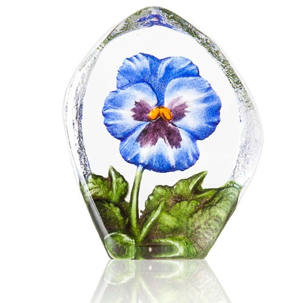 Blue Pansy Crystal Sculpture | 34216 | Mats Jonasson Maleras