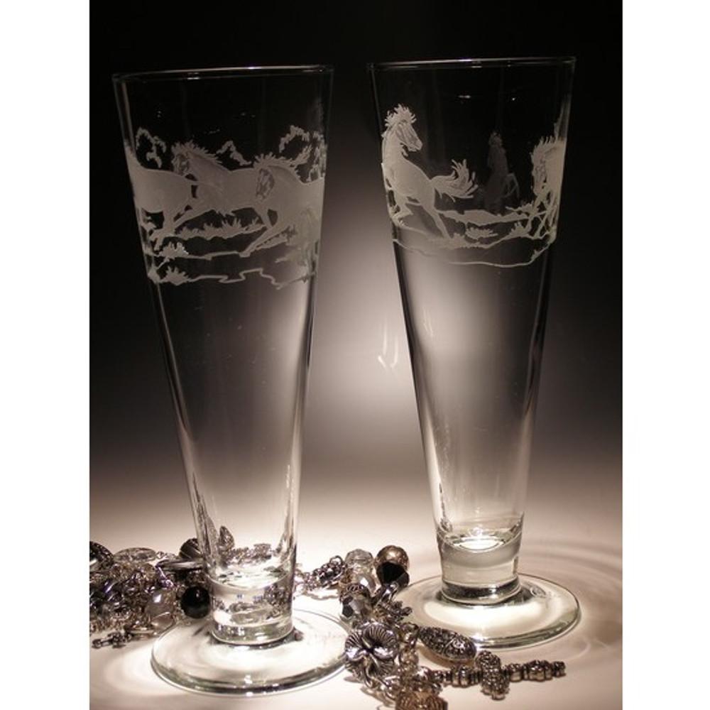 Stallion Horse Crystal Pilsner Glass Set of 2   Evergreen Crystal   EC074stallion