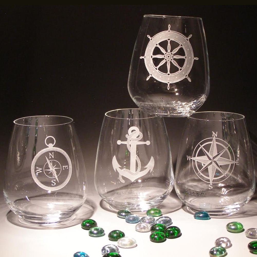 Nautical Stemless Wine Glass Set of Four | 23 oz | Evergreen Crystal | EC067-623