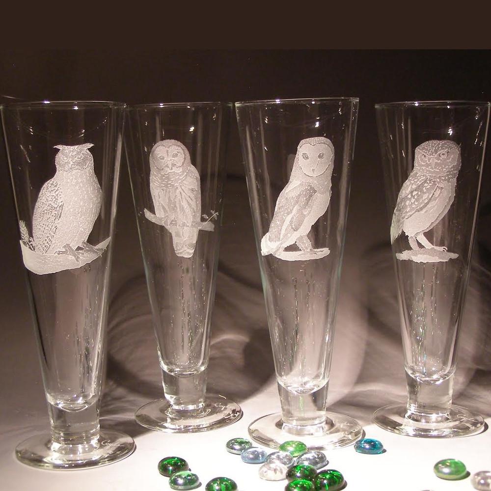 Owl Crystal Pilsner Glass Set of 4 | Evergreen Crystal | EC074-625