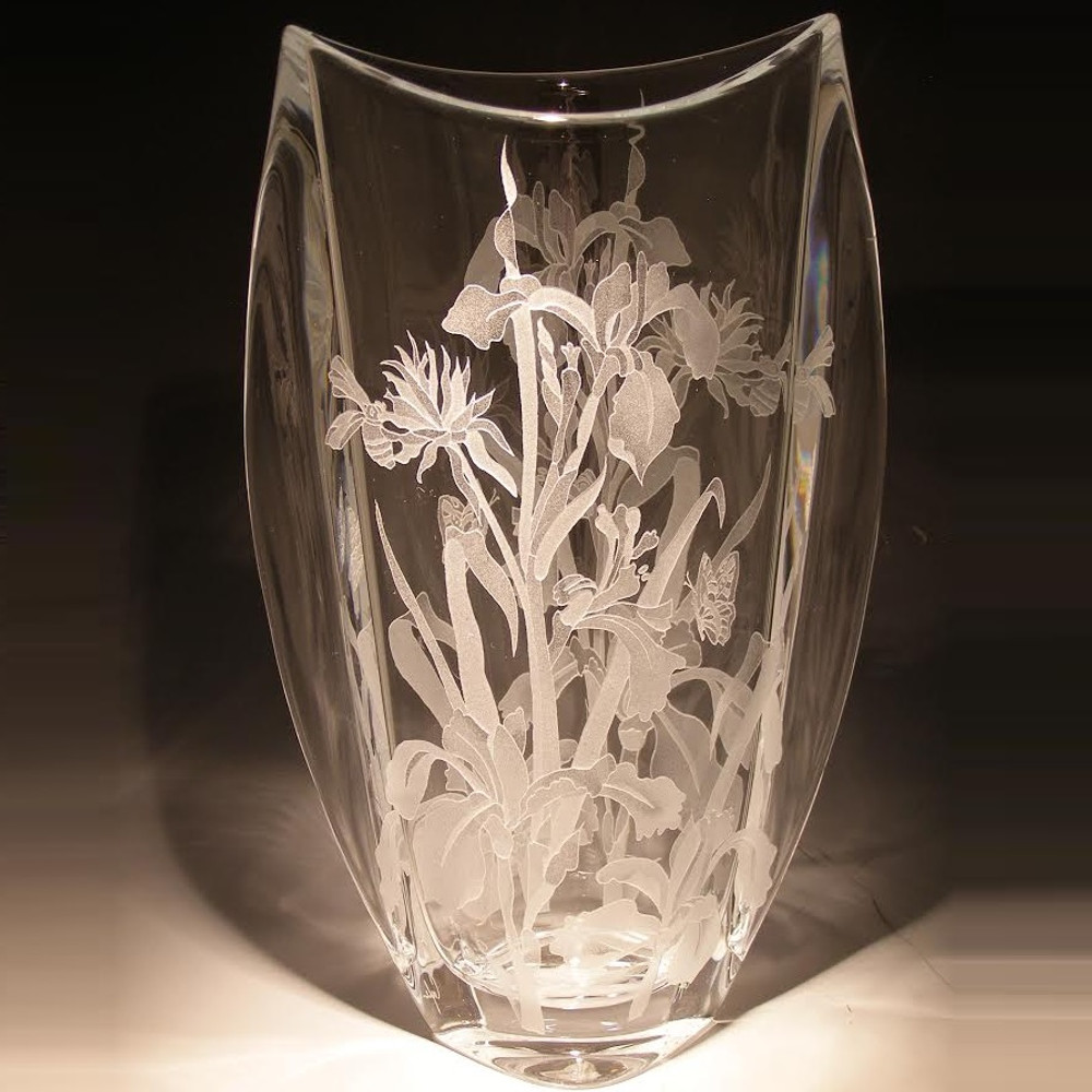 Iris and Butterfly Etched Crystal Tall Vase | Evergreen Crystal | EC014-034B