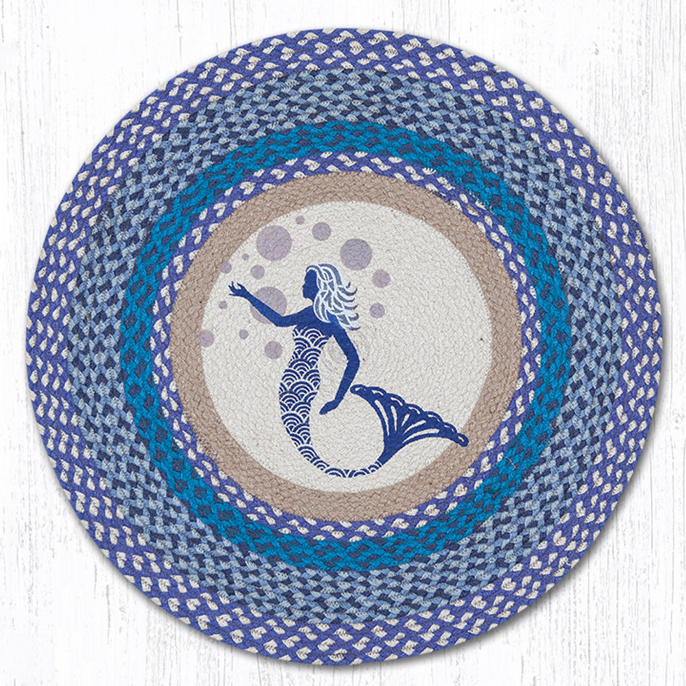 Blue Mermaid Round Braided Rug | Capitol Earth Rugs | RP-527