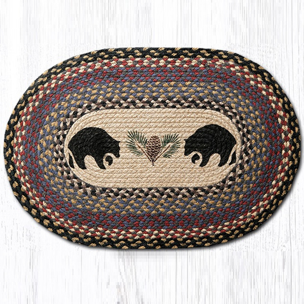 Black Bear Oval Braided Rug   Capitol Earth Rugs   OP-43BB