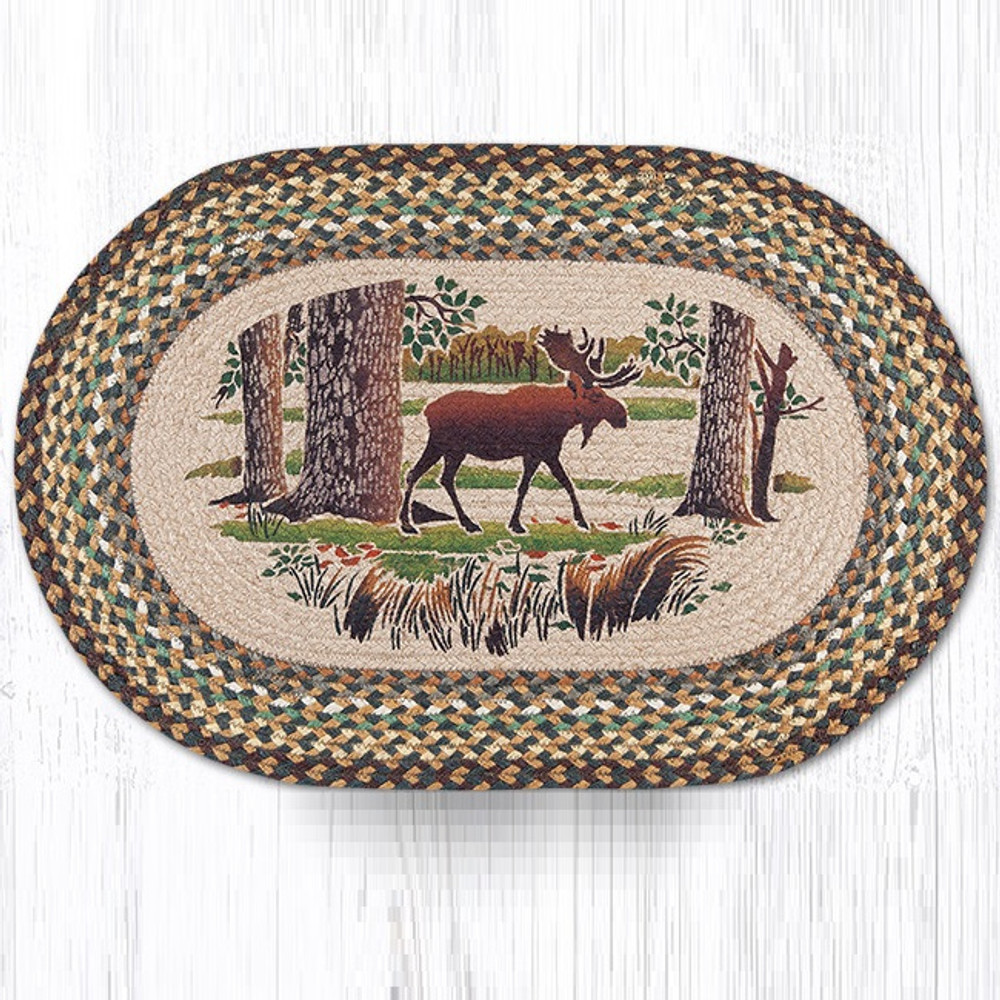 Moose Forest Oval Braided Rug | Capitol Earth Rugs | OP-51MF
