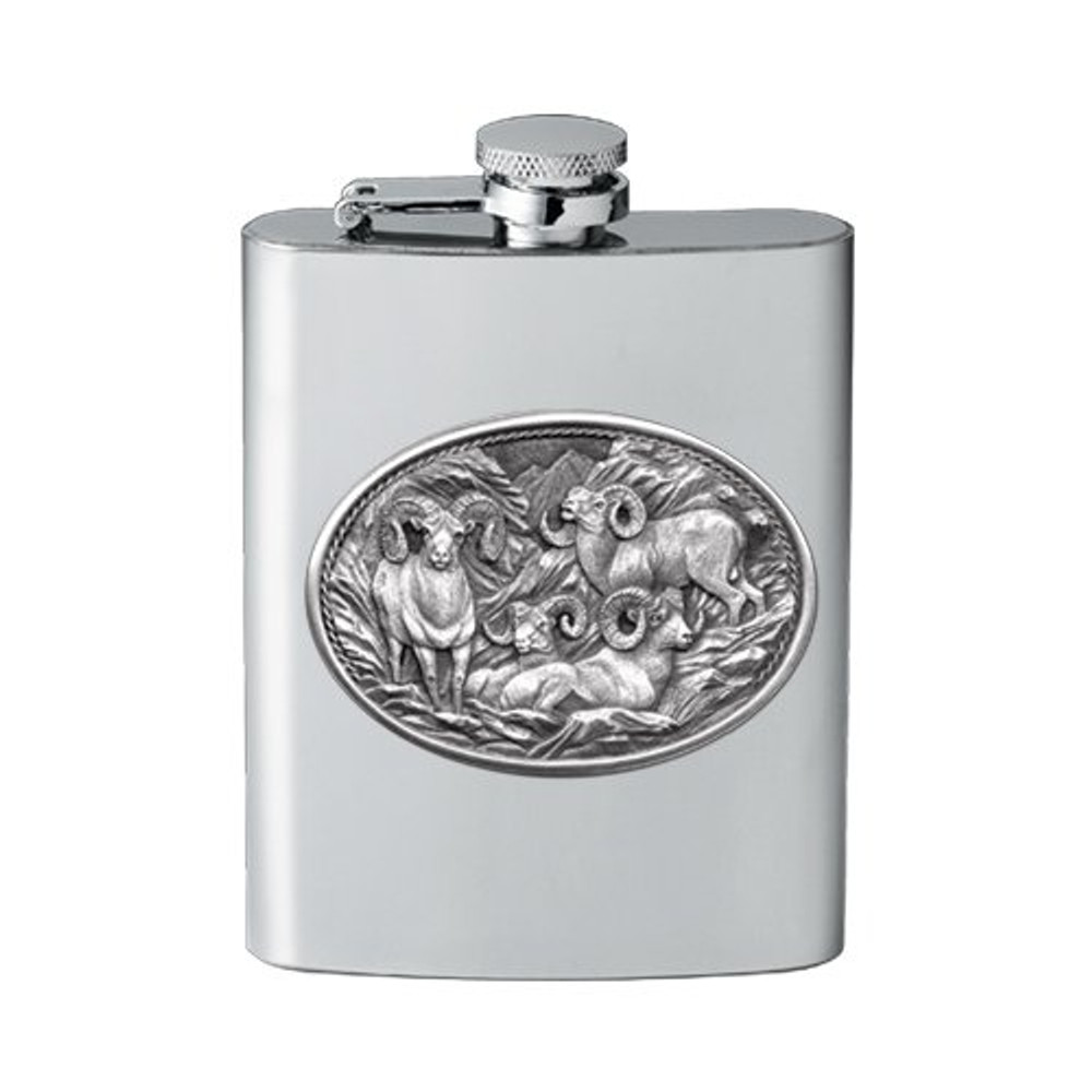 Bighorn Sheep Flask | Heritage Pewter | HPIFSK115