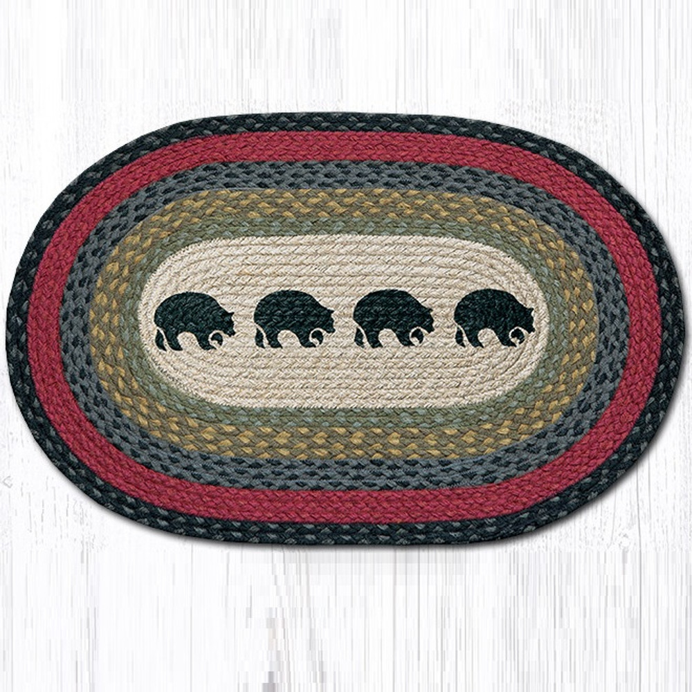 Black Bears Oval Braided Rug | Capitol Earth Rugs | OP-238BB
