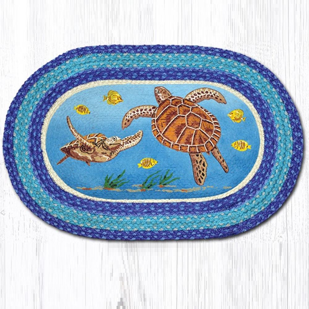 Sea Turtle Oval Braided Rug | Capitol Earth Rugs | OP-384
