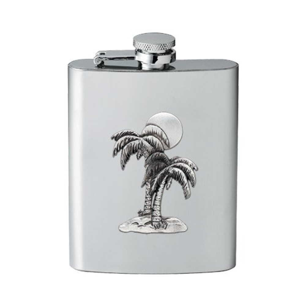 Palm Tree Flask   Heritage Pewter   HPIFSK4216