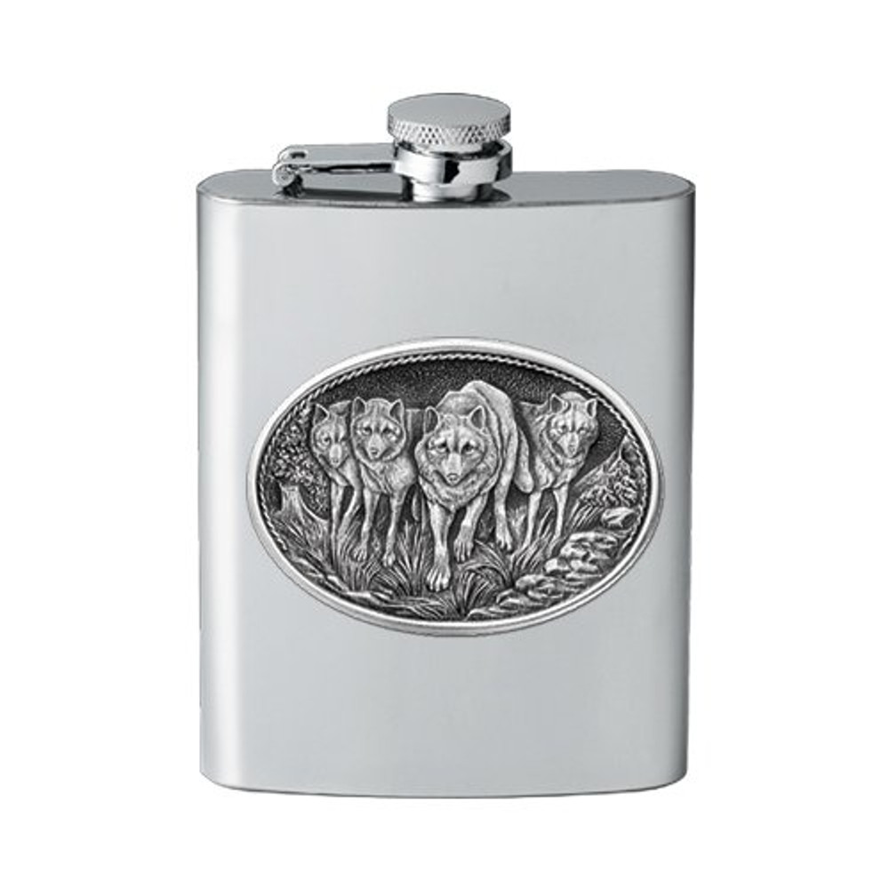 Wolf Pack Flask | Heritage Pewter | HPIFSK102