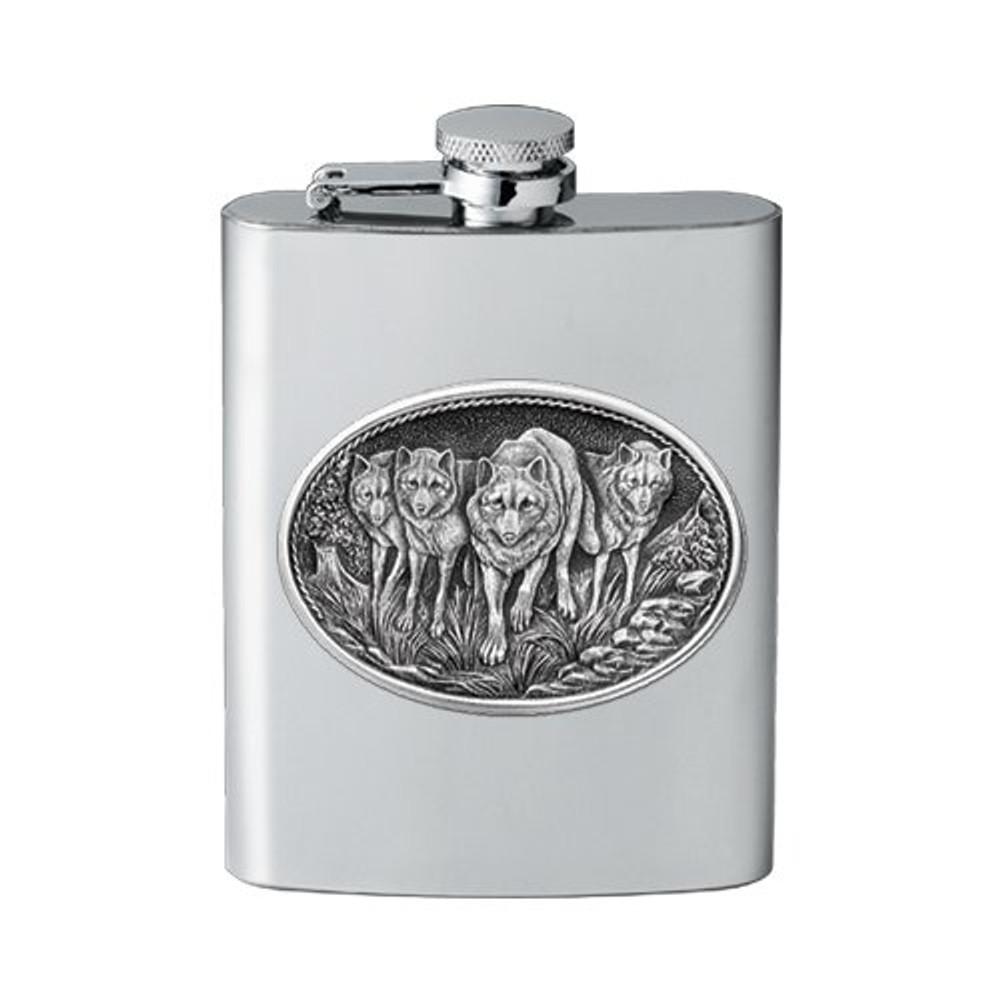 Wolf Pack Flask   Heritage Pewter   HPIFSK102