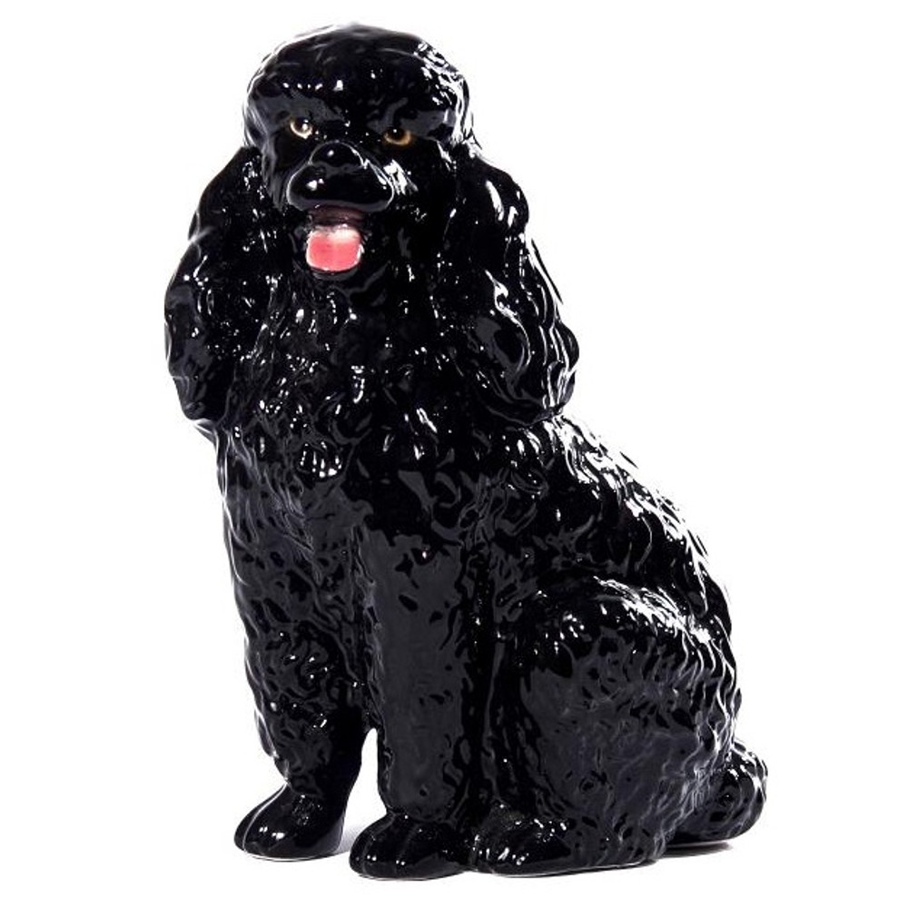 Black Poodle Ceramic Dog Sculpture | Intrada Italy | ANI2302
