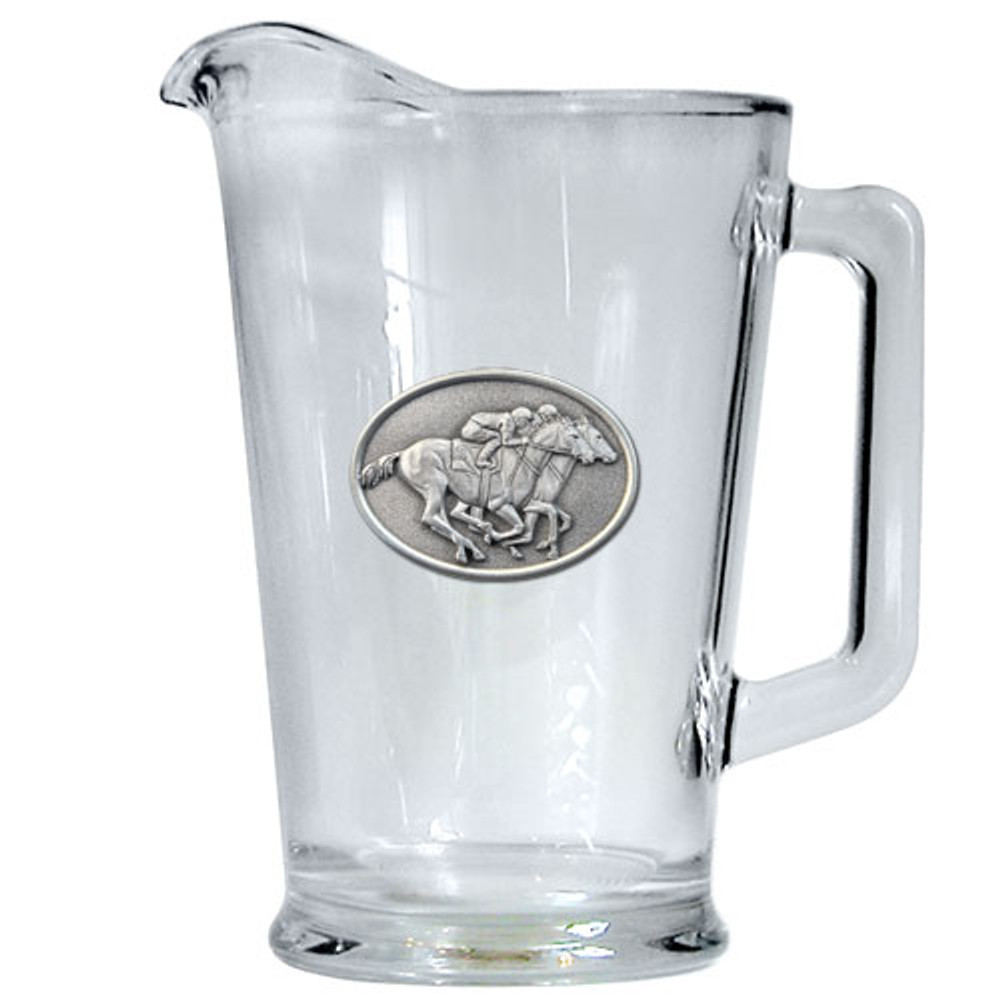 "Racehorse Beer Pitcher ""By a Nose"" 